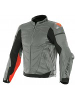 CHAQUETA DAINESE SUPER RACE LEATHER Charcoal-Gray/Ch.-Gray/Fluo-Red